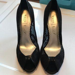 Peep toe black heels